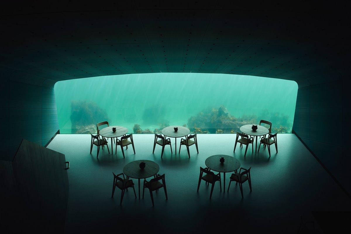 Restaurant dentro de un Acuario de Noruega