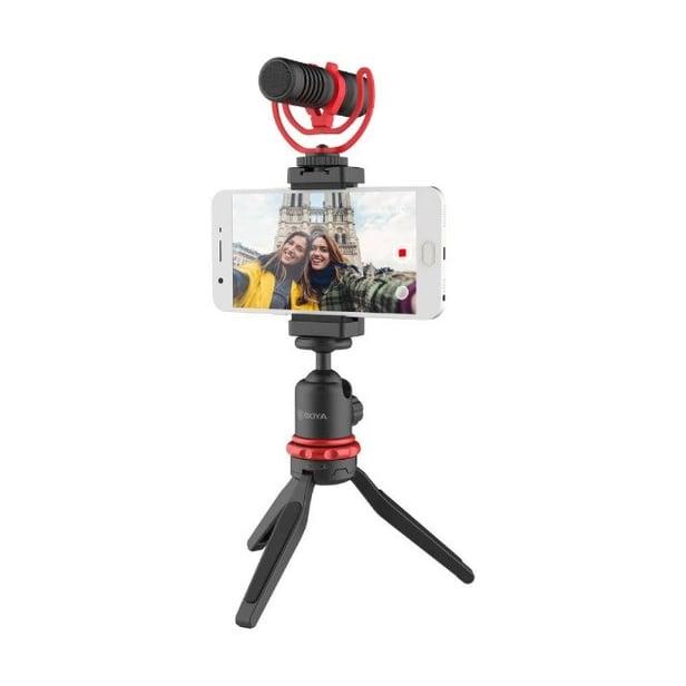 kit microfone boya vg330 + suporte para celular