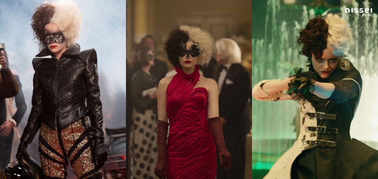 Distintos vestuarios de la película Cruella