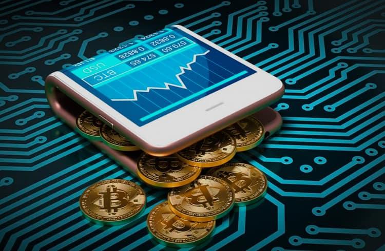 arte de celular simulando carteira com criptomoedas
